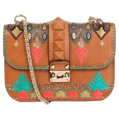 VALENTINO brown leather GLAM LOCK SMALL EMBROIDERED Shoulder Bag