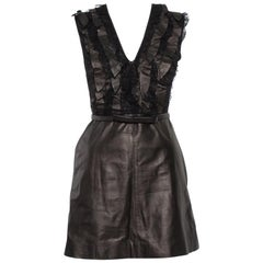 Valentino Brown Leather & Lace Ruffle Detail Belted Short Dress S