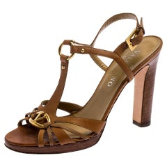 Valentino Brown Leather Logo Embellished Peep Toe Strappy Open Toe Sandals 37