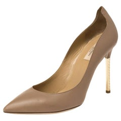 Valentino Brown Leather Noisette Pointed Toe Pumps Size 40