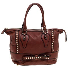 Valentino Brown Leather Rockstud Bow Zip Tote