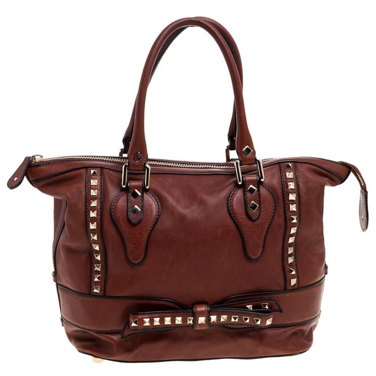 Valentino Brown Leather Rockstud Bow Zip Tote For Sale