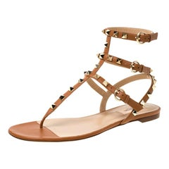 Valentino Brown Leather Rockstud Thong Gladiator Sandals Size 39