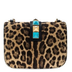 ea29be09c2a2 Valentino Brown Leopard Print Calf hair Rockstud Small Glam Lock Shoulder  Bag