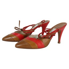 Valentino Brown Red Leayher Heel Shoes Decollete 80s