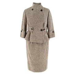 Valentino Brown Silk Blend Tweed Jacket and Skirt Set SIZE 6