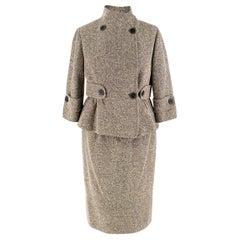 Valentino Brown Silk Blend Tweed Jacket and Skirt Set - Size US 2