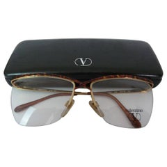 Valentino Brown Tortoise Metal Eyeglasses 1980S