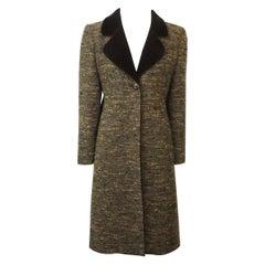 Valentino Brown Tweed 3/4 Coat with Velvet Collar-8