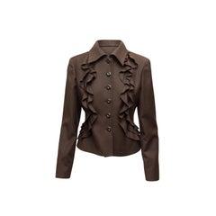 Valentino Brown Wool & Cashmere Ruffle Jacket