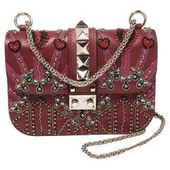 Valentino Burgundy Beads Embellished Leather Small Love Glam Lock Shoulder Bag