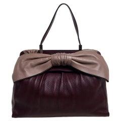 Valentino Burgundy/Beige Leather Aphrodite Bow Top Handle Bag