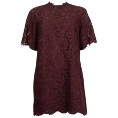 VALENTINO burgundy cotton LACE Short Sleeve Shirt Dress 40