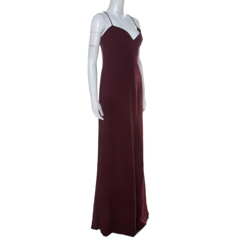 Black Valentino Burgundy Crepe Knit Plunge Neck Strappy Evening Gown L For Sale