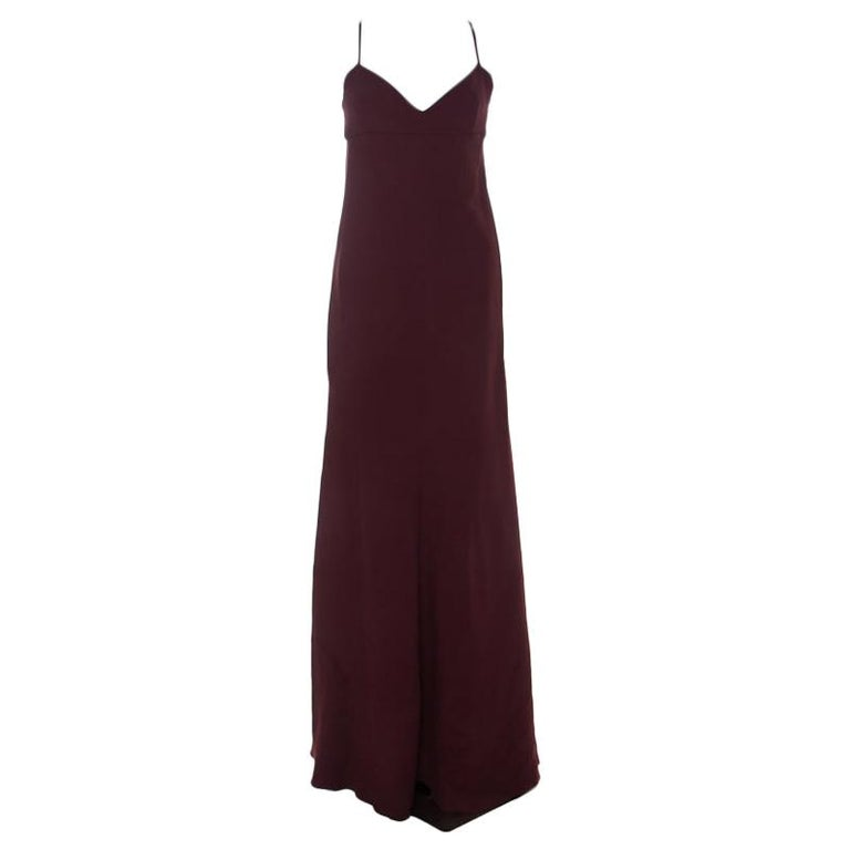 Valentino Burgundy Crepe Knit Plunge Neck Strappy Evening Gown L For Sale