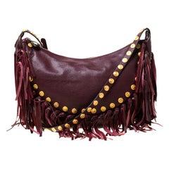 Valentino Burgundy Leather C Rockee Studded Fringe Hobo