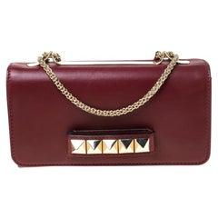 Valentino Burgundy Leather Medium Va Va Voom Chain Shoulder Bag