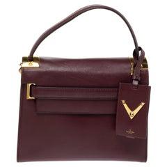 Valentino Burgundy Leather My Rockstud Top Handle Bag