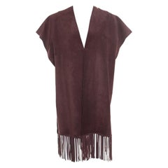 Valentino Burgundy Leather Poncho Style Fringed Hem Jacket S