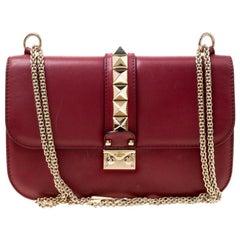 Valentino Burgundy Leather Rockstud Medium Glam Lock Flap Bag