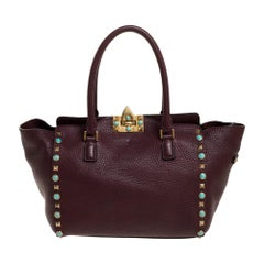 Valentino Burgundy Leather Rockstud Rolling Tote