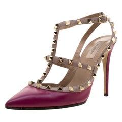 Valentino Burgundy Leather Rockstud Sandals Size 41
