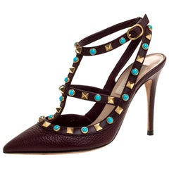 Valentino Burgundy Leather Rockstud Strappy Pointed Toe Sandals Size 34.5