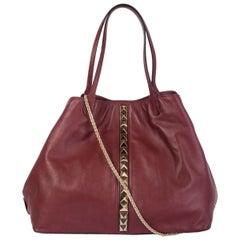 VALENTINO burgundy leather Rockstud VA VA VOOM LARGE TOTE Bag