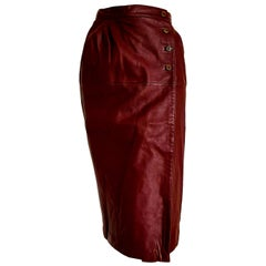 VALENTINO Burgundy Leather Skirt - Excellent condition