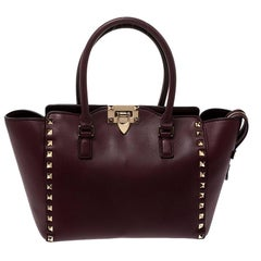 Valentino Burgundy Leather Small Rockstud Trapeze Tote