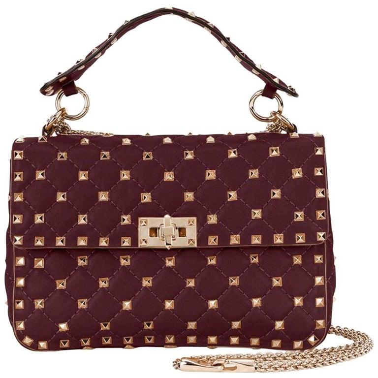 489eb8824b7 Valentino Burgundy Medium Rockstud Matelassé Bag LW0B0122NAP For Sale