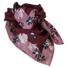 VALENTINO burgundy & pink silk FLORAL Scarf