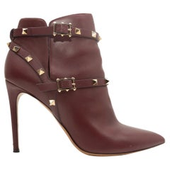Valentino Burgundy Pointed-Toe Leather Rockstud Booties