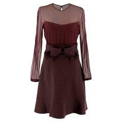 Valentino Burgundy Sheer Panel Silk And Wool Dress 8