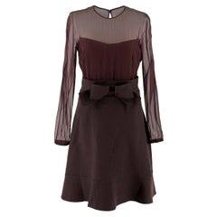 Valentino Burgundy Sheer Panel Silk And Wool Dress UK 8