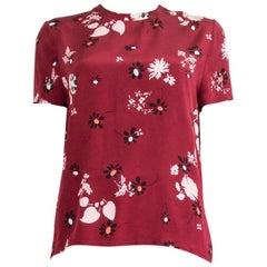 VALENTINO burgundy silk FLORAL Short Sleeve Blouse T-Shirt Shirt S