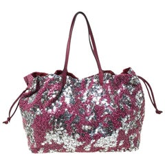 Valentino Burgundy/Silver Sequins Embellished Fabric and Leather Tote