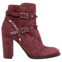 Valentino Burgundy Suede Rockstud Ankle Boots