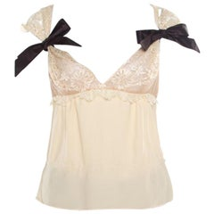 Valentino Buttercream Crepe Bow Detail Lace Babydoll Top L