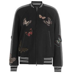 Valentino Butterfly Beaded Virgin-Wool Bomber Jacket