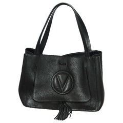 Valentino by Mario Valentino Estelle Signature Black Top Flat Shoulder Strap Bag