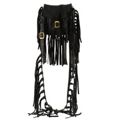 Valentino C Rockee Fringe Shoulder Bag Leather Small