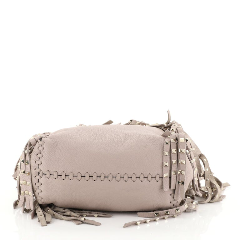 Valentino C-Rockee Fringe Tote Leather Micro In Good Condition In New York, NY