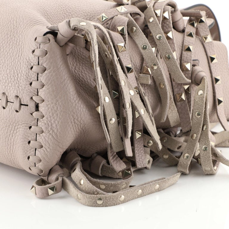 Women's Valentino C-Rockee Fringe Tote Leather Micro