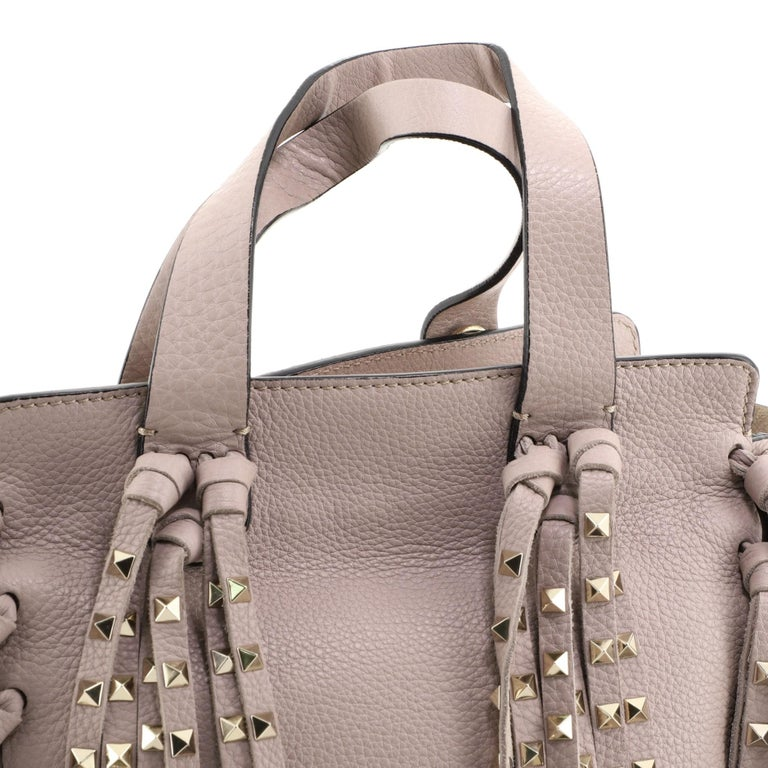 Valentino C-Rockee Fringe Tote Leather Micro 1
