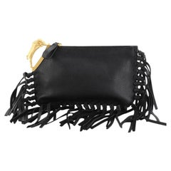 Valentino C-Rockee Handle Fringe Clutch Leather Small