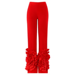 VALENTINO c.2000's Red Silk Flamenco Floral Ruffle Trouser Pants NWT