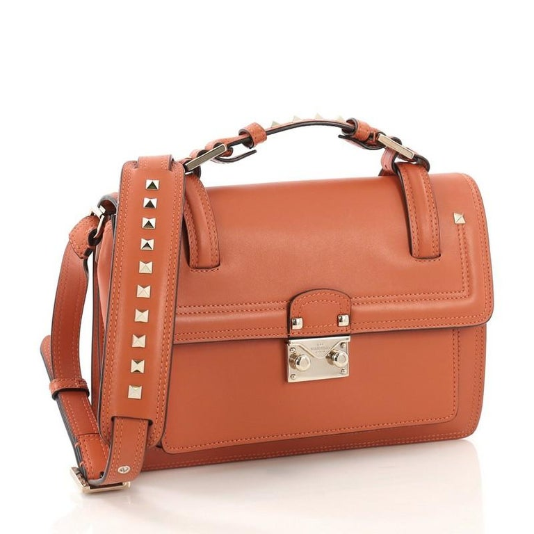 600e57f832 Brown Valentino Cabana Top Handle Flap Bag Leather Medium For Sale