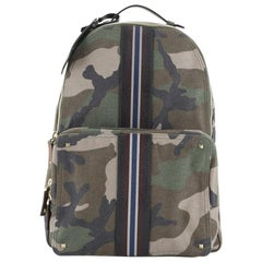 Valentino Camouflage Stripe Backpack Canvas with Leather Large