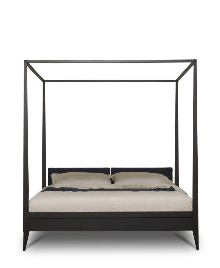 Valentino Canopy Bed Made of Cherrywood with Upholstered Headboard For Sale 8